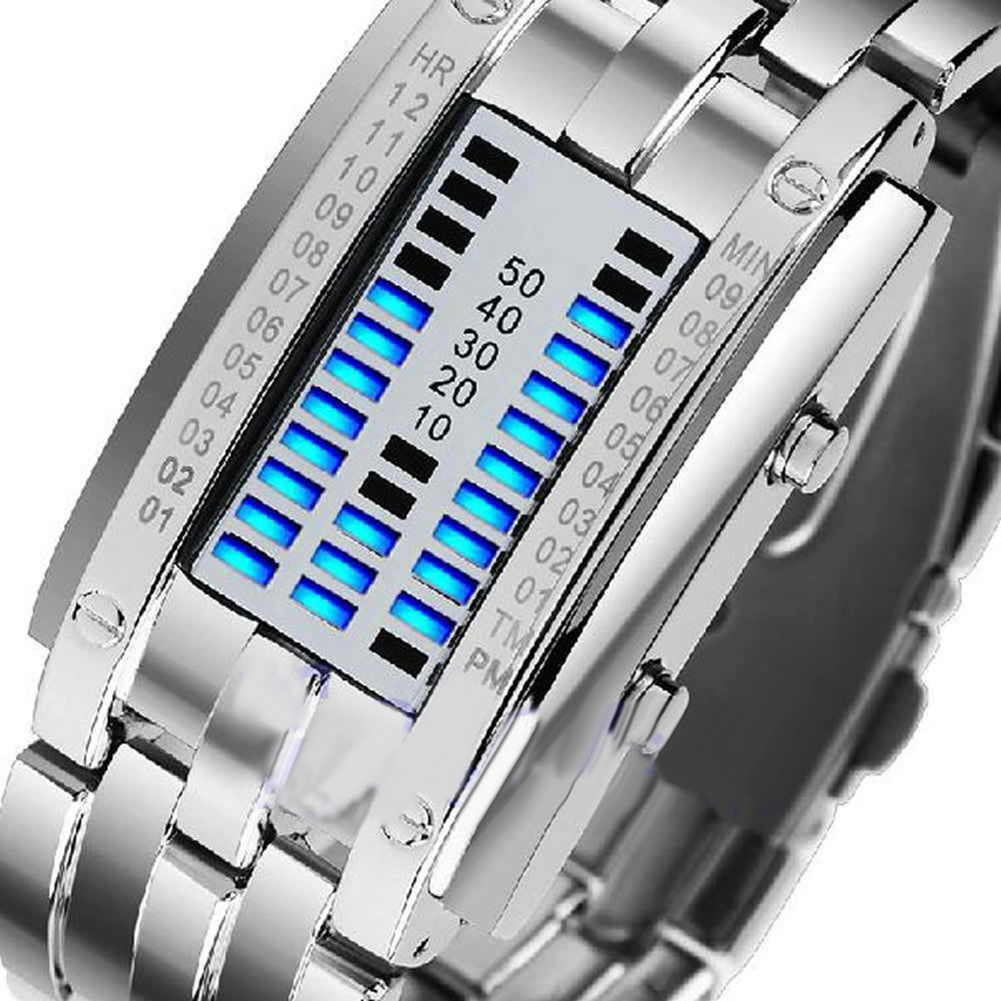 Men Women Creative Stainless Steel LED Date Bracelet Watch Binary Wristwatch Electronics  Fashion  Casual  dropshipping