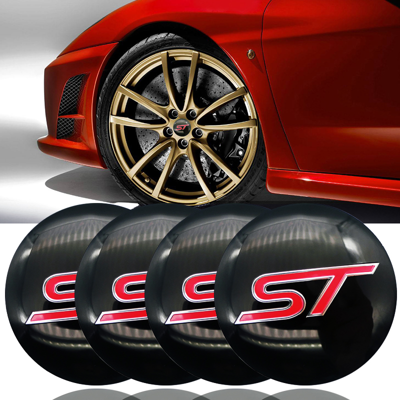 4pcs 56.5mm ST logo <font><b>Stickers</b></font> Auto <font><b>Car</b></font> <font><b>Wheel</b></font> Center <font><b>Hub</b></font> <font><b>Caps</b></font> <font><b>sticker</b></font> For Ford Focus 2 Focus 3 FIESTA Kuga FUSION ESCAPE EDGE image