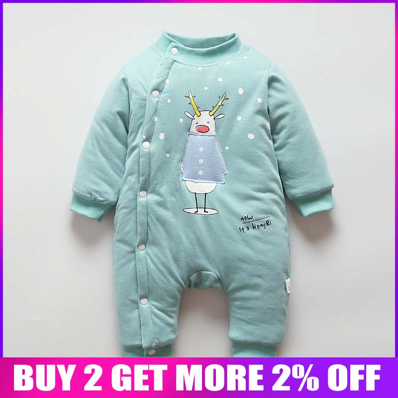 BibiCola baby boys girls winter   romper   newborn baby cotton thick warm jumpsuits for bebe girls toddler long sleeve overalls