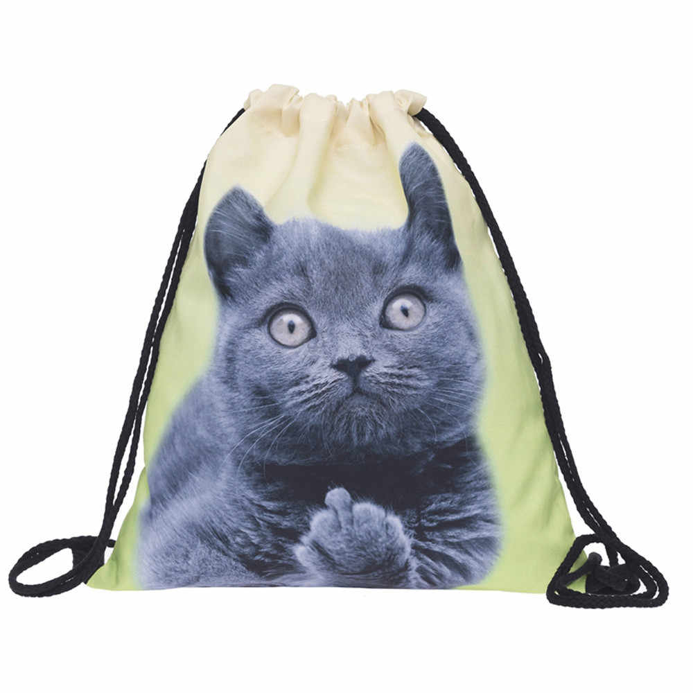 e7d7dcaf1b2f Xiniu Drawstring Bag 3D Printing Cats Polyester Teenagers Backpack Unisex  Travel Storage Package Mini Shopping Bags 2.3@