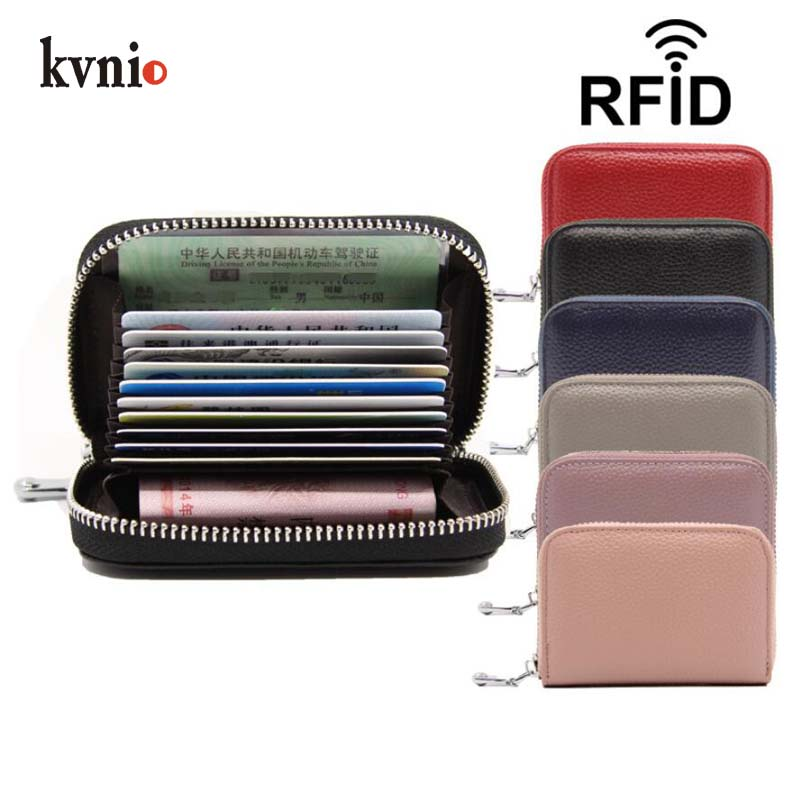 KVNIO Rfid Wallet 2018 Credit Card Holder Women Leather Wallet Multi-card Case Minimalist Unisex Mini Purse tarjetero monedero