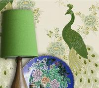 High Quality Non woven Wallpaper Embossed Gold Living Room Bedroom Three dimensional Embroidery Peacock Wallpaper