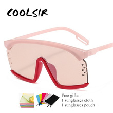 COOLSIR New Arrival Fashion Women Oversized Conjoined Sunglasses Semi-Rimless Tint Lens Luxury One Piece Summer Glasses Eyewear