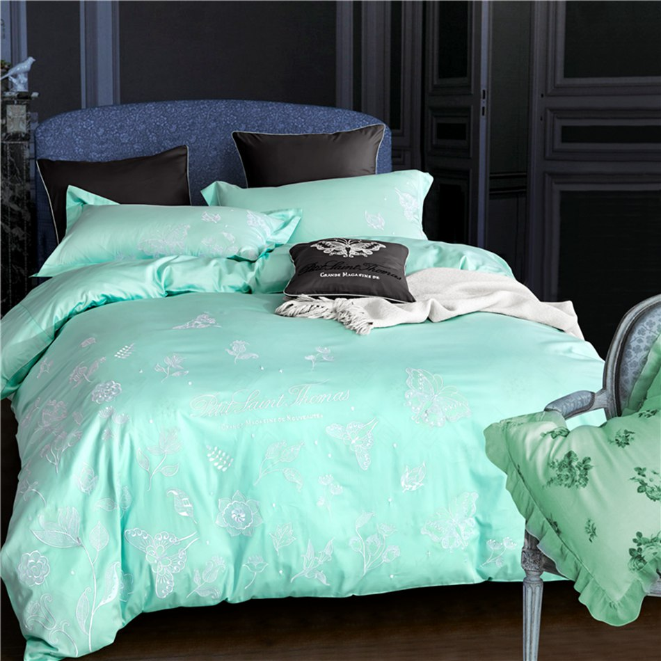 online get cheap white flower bedding aliexpresscom  alibaba group - fresh light green white flower butterfly embroidered princess style beddingset pcs including duvet cover bedsheet