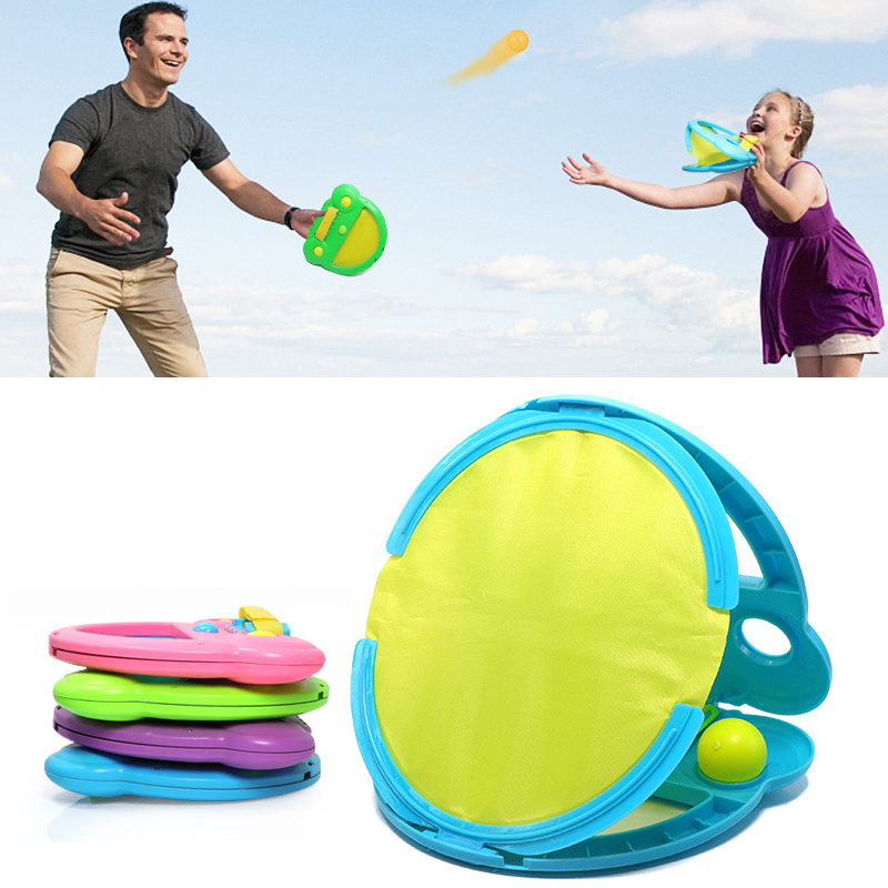 Outdoor Rackets Sports Hand Throw Catch Ball Game Family Interactive Beach Ball Game Parent-child Fly Parachute Sport For Kids