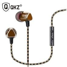 Qkz X36M наушники-вкладыши медь ковки энтузиастов бас 7 мм шокирующие анти-шум С микрофоном качество звука оригинальные наушники