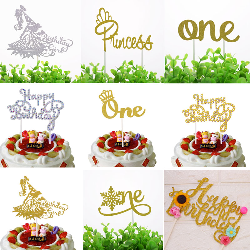 Cake Topper Flags Shiny Crystal Cupcake One Glitter Girl Toppers Bride Kids Birthday Wedding Cake Wrapper Party Baking DIY Flag