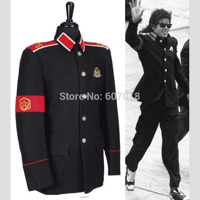 e142549458c320 Rare Classic MJ MICHAEL JACKSON Costume Black Informal Military CTE Woolen  Clothing Jacket Outwear
