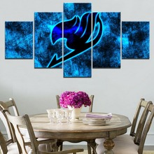 Modern Home Decor Living Room Wall Art Poster High Quality Canvas Print Painting 5 Panel Anime Fairy Tail Logo Modular Pictures