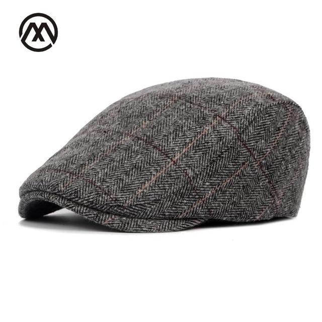 cd792eec3b5 2018New Autumn Winter Beret Cap Unisex Mens Hat Cotton Striped Beret  England British Retro Men Women