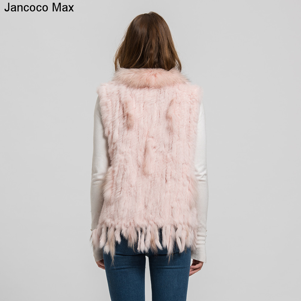 Women Fashion Fur Vests Real Rabbit Fur With Raccoon Fur Collar Gilet Winter Warm Waistcoat S1700