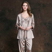 Plus size sexy Women Nightgowns Princess Homewear Dress long Sleeve Loose Sleepwear M 3XL Larger lace robes three pieces