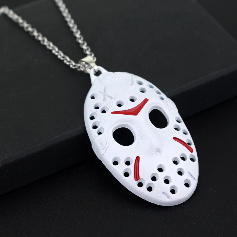 Black Friday The 13th Necklace Movie Character Jason Voorhees White Mask Pendant Necklaces Christmas Gifts free shipping