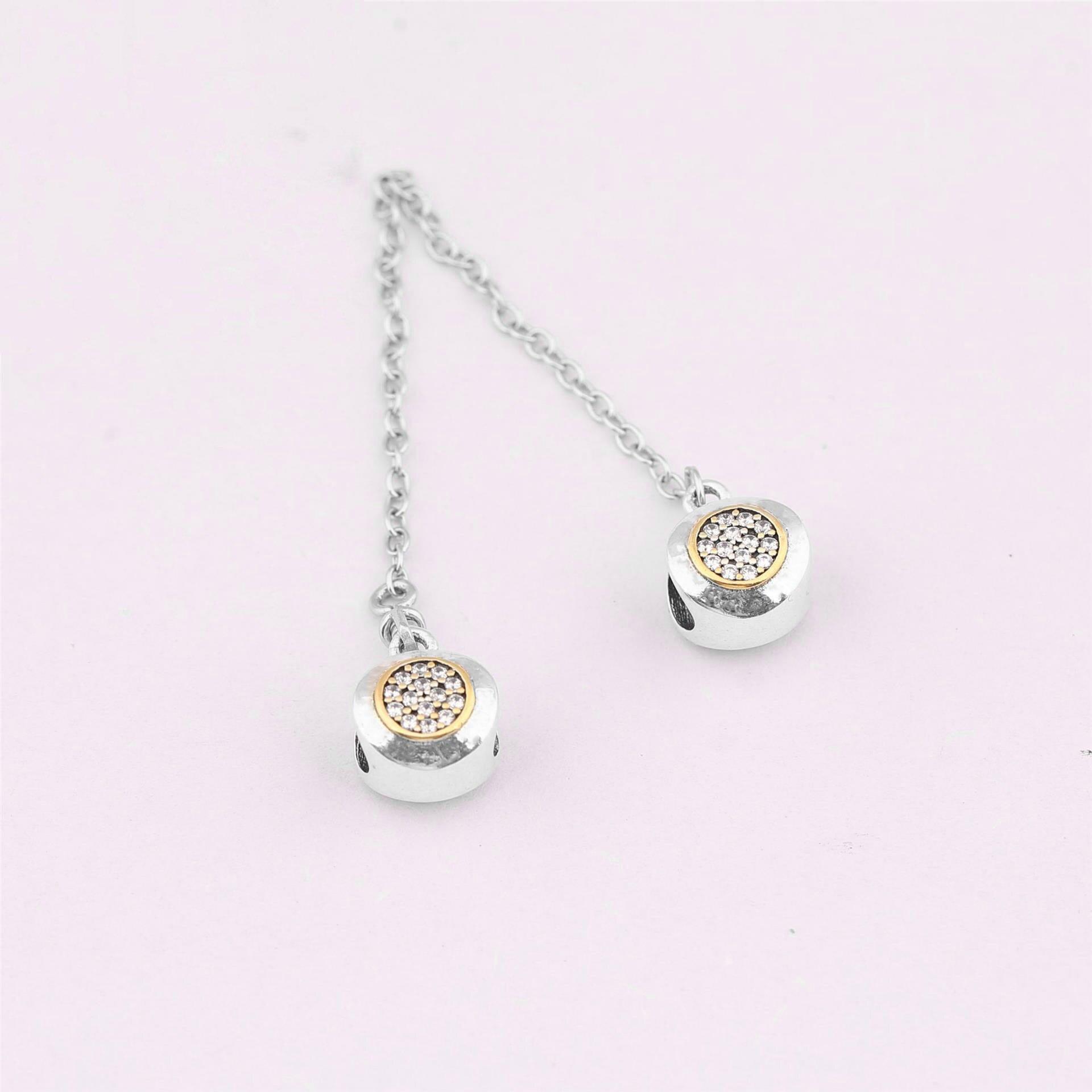 925 breloques en argent Sterling perle bricolage or chaîne de sécurité ronde en cristal pour Original Pandora 925 Bracelets en argent Sterling Bracelets