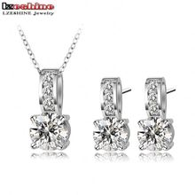 LZESHINE Brand Wedding Bridal Jewelry Sets Silver Color Micro Inlay Cubic Zircon Pendant/Ring/Earrings Set CST0002-B