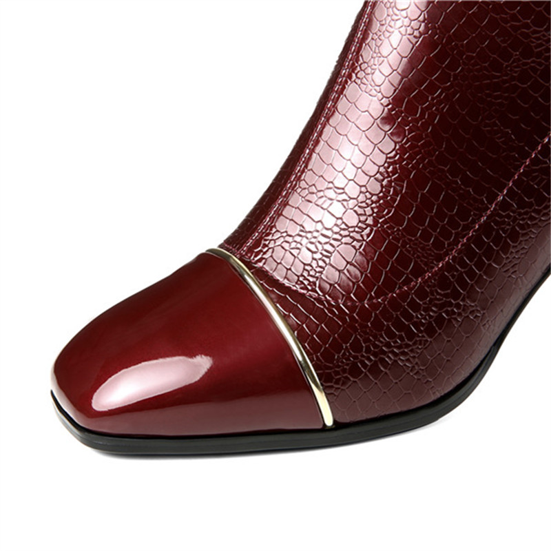 MORAZORA 2020 wine red newest knee high boots women square toe patent leather boots zipper fashion Stretch high heels shoes-in Knee-High Boots from Shoes    3