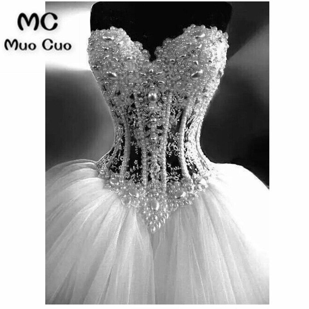 Luxe 2018 robe de Bal Robes De Mariée avec Perles Cristaux Chérie Robe de mariage Perlée robe de noiva Robes De Mariée