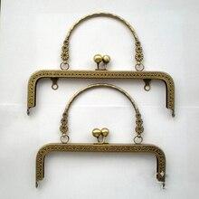 20.5 см старинные бронзовый цвет женщины кошелек металлический каркас девушка мешок застежка аксессуары рот goldern ручка 2 шт./лот