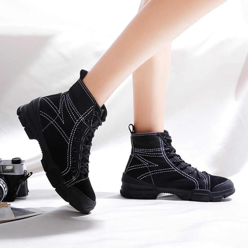 2019 sonbahar yeni kadın Martin çizmeler düz İngiliz rüzgar tuval yarım çizmeler kadın retro kısa çizmeler bayanlar