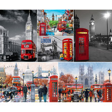 5d diy Diamond Painting Cross Stitch Red London Bus,Big Ben,Abbey Wall sticker 5d Diamond Mosaic Handmade Diamond Embroidery(China)