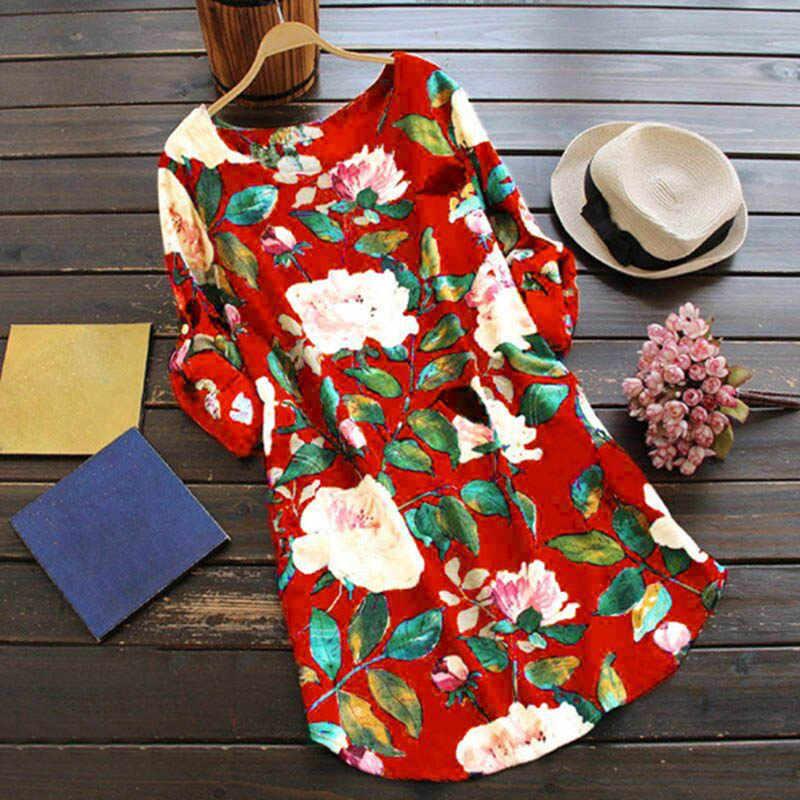 2019 femmes nouveau mode printemps automne manches longues imprimé Floral coton lin lâche courte robe de soirée S/M/L/XL/XXL/XXXL/4XL/5XL