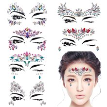 METABLE 6 Sets Rhinestone Mermaid Face Jewels Tattoo - BODY STICKERS Crystal Tears Gem Stones Bindi Temporary Stickers