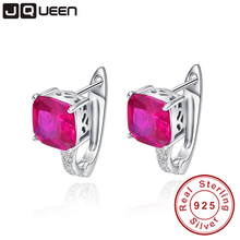 Exquisite Fashion Rose Red Ruby Earrings Cushion Cut Ear Cuff 3.55g Real Pure 925 Sterling Silver Clip Earring Accessories