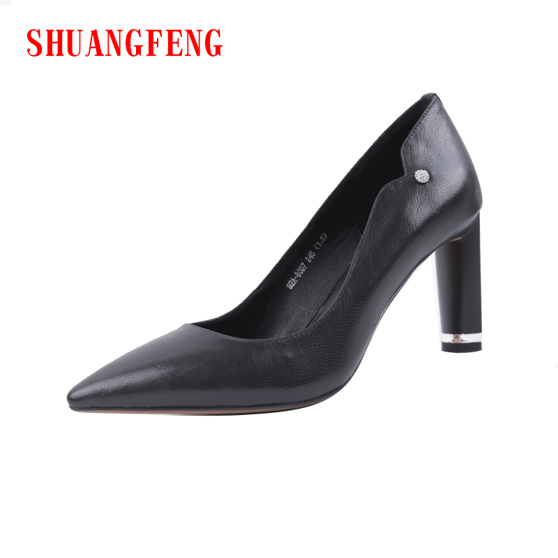 цена на SHUANGFENG Brand Classic Black Shoes High Heels Women Pumps 2018 Spring Sexy Lady Dress Shoes Woman Pointed Toe scarpe donna
