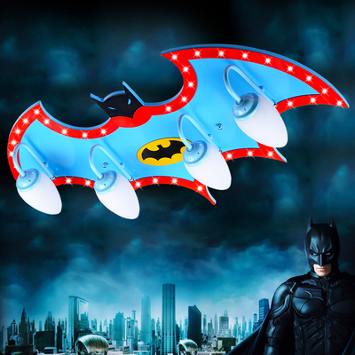 Remote Control Kids Led Lamp Child Ceiling Light Personality Superman Boys Bedroom Batman Eye Protect
