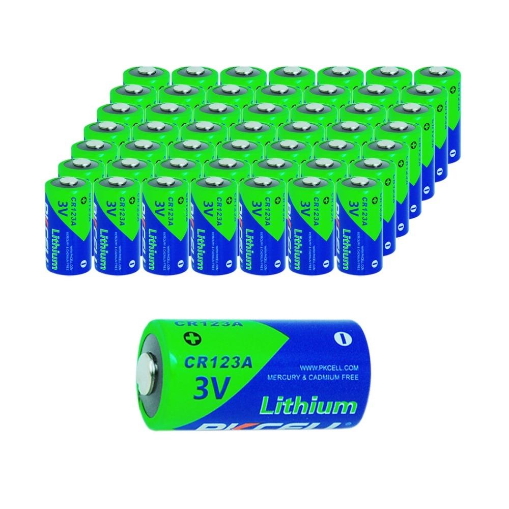 Prix pour 50 x PKCELL Bateria 3 V CR123A Piles CR123 123A 16340 CR17345 Au Lithium Batterie Bateria Batery Pour Appareil Photo de Poche Torche