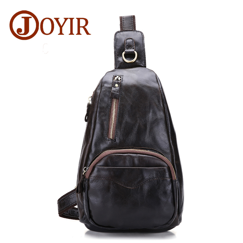 цена JOYIR Cowhide Genuine Leather Chest Pack Men Crossbody Chest Bag Fashion Zipper Small Shoulder Bag for Male Belt Man Bag 9030