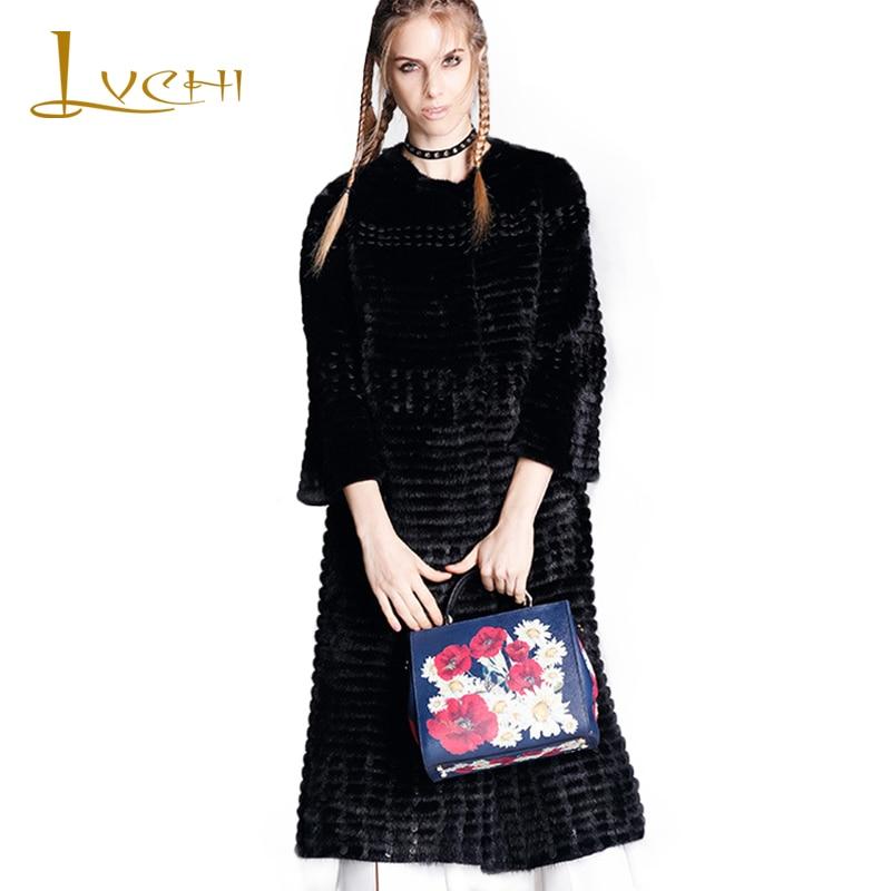 LVCHI Plus velikost Dámská koženka z pravé kožešiny Černá kožešinová kůže O-Neck Dánsko Mink Swan Velvet Mink pletený kabát Mink Coat