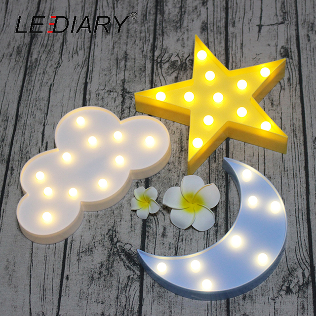 LEDIARY Novelty Sky Title Bedside Lamp Moon Star Cloud LED Night Light Ramadan Room Decoration For Baby's Children's Bedroom