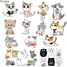 Prajna Cat In Love Iron on Patch Courtship Rose Cats Heat Transfer Vinyl Sticker Cute On For Kid Clothing DIY T-Shirt