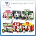 Conjunto completo 6 unids/lote Mini Qute HSANHE comida kawaii tienda Tienda diamante modelo de bloques de construcción de plástico de ladrillo juguetes educativos
