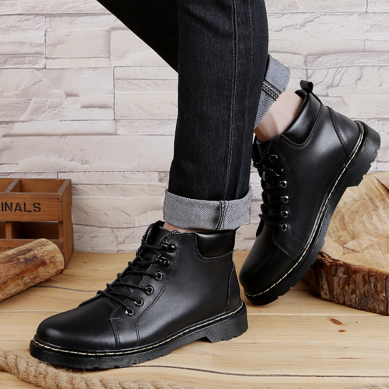 2019 new autumn amp winter Men 39 s boots military genuine leather cow casual work shoes black ankle boot shoe man army boots for men in Work amp Safety Boots from Shoes