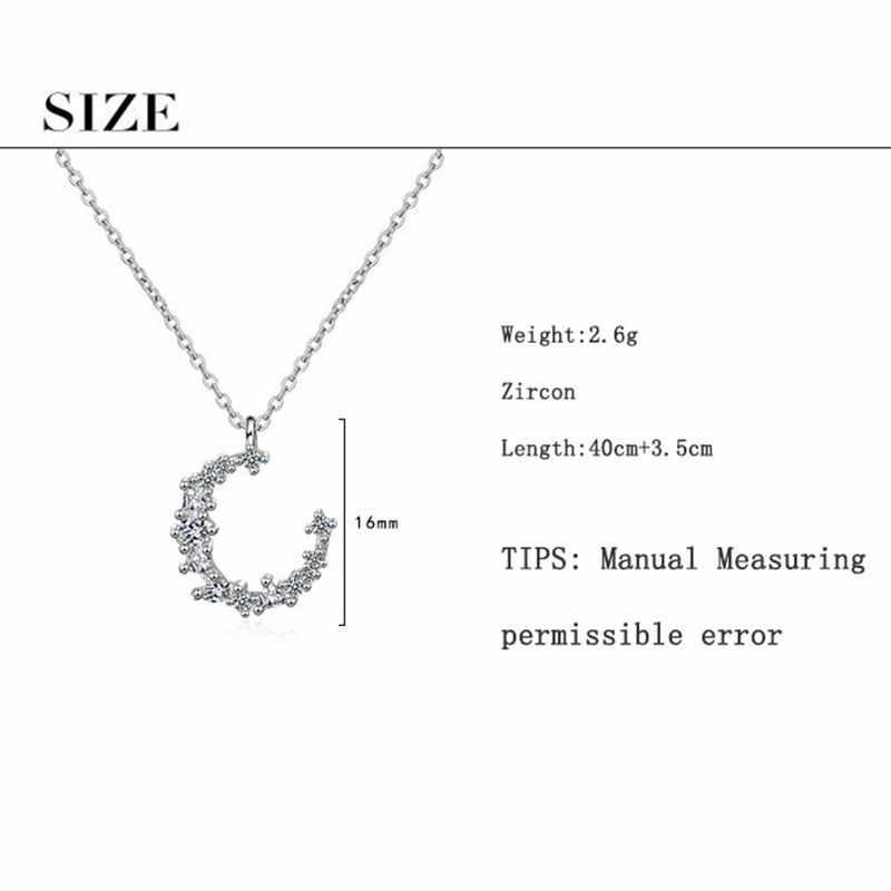 Anenjery moda deslumbrante CZ Irregular pendiente de luna creciente Collar para mujeres collar de zirconio de Plata de Ley 925 S-N277