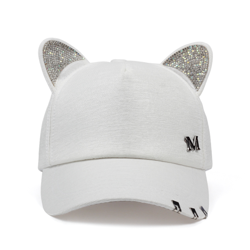 db0ee3f7e304f 2018 new meow Women s Summer fall black white Pink hat Cat ears Cat  Baseball cap with rings and lace cute girl hat-in Baseball Caps from  Apparel Accessories ...