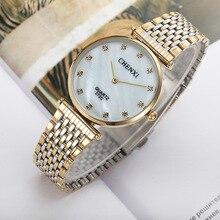 Chenxi брендовые модные повседневные парные часы в деловом стиле для мужчин и женщин, золотые водонепроницаемые кварцевые амулеты из нержавеющей стали