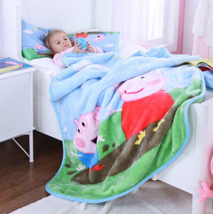 Genuine Peppa Pig 140*110cm Peppa's Sweet Cotton Pillow + Blanket Suit 1set Mud Series Peppa Plush Toy Children Toy Gift