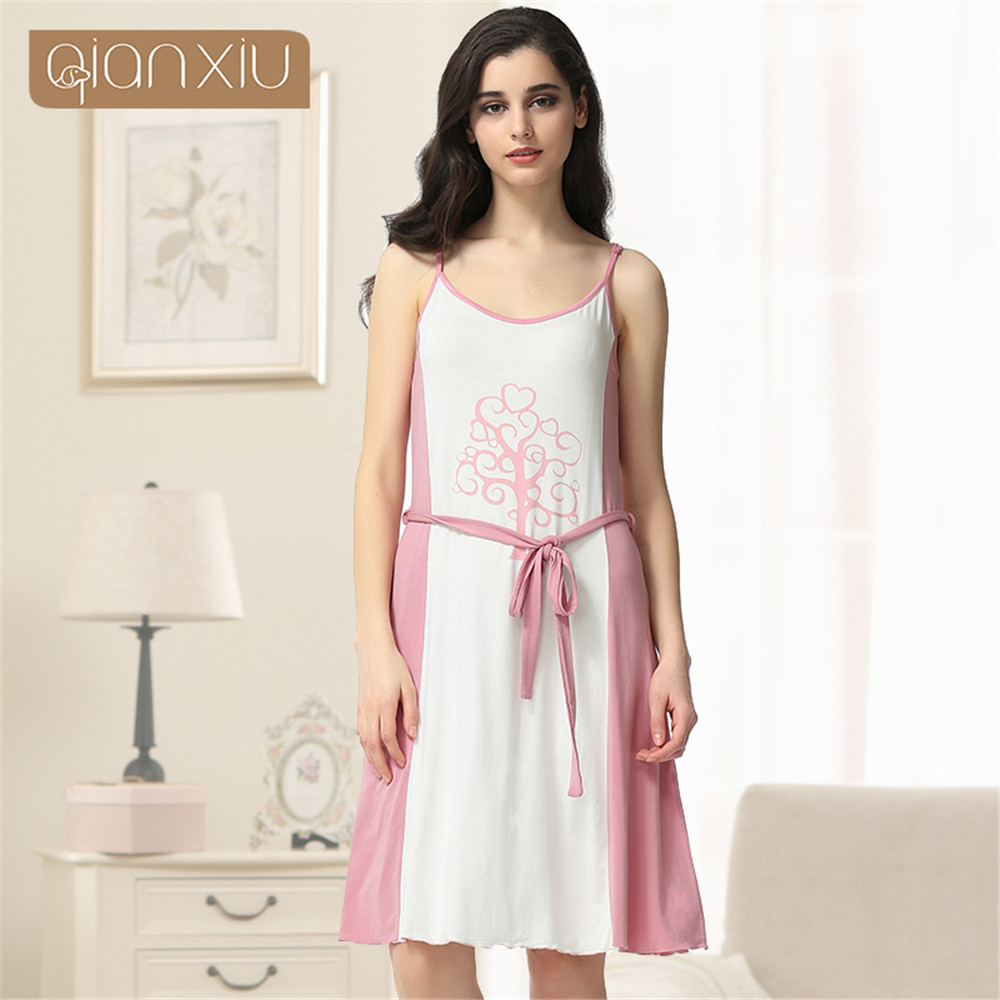 Qianxiu 2018 Hot Sale   Nightgowns   &   Sleepshirts   Women Summer Style Nightdress Bath Robe Longue Of cotton Bathrobe Sleepwear