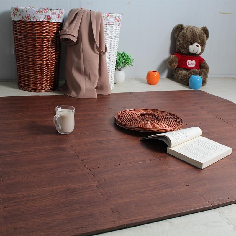 60cm wood grain printing puzzle mats foam floor carpet crawling game mats excersizing eva sport judo tatami mats