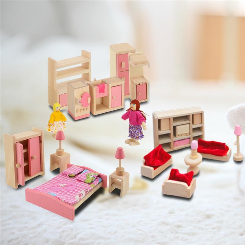 Meubles en bois Pretend Jouet Jouer Miniature Lit Salon Restaurant Chambre Cuisine Salle De Bain Agréable Cadeau Pour Enfant Enfants Poupées