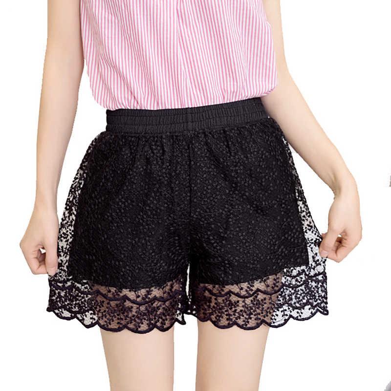 Nowe szorty damskie czarny biały Hollow koronki na co dzień dziewczyny Sexy krótkie majtki moda damska solidna wysoka talia lato kobiet odzież