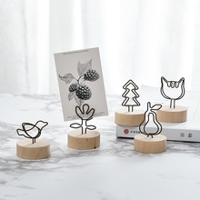 Creative DIY Round Wooden Iron Photo Clip Memo Name Notes Card Pendant Furnishing Articles Picture Frame Desk Decoration Gift