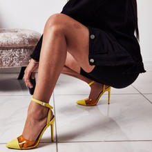 цены Hot Selling PVC Patchwork High Heel Shoes Pointed Toe Ankle Strap Woman Sandal Summer Cutouts Gladiator Shoes
