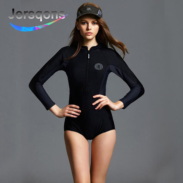 b650a0e1486 Jersqons Sexy Women One Piece Rash Guard Long Sleeve Solid Black Swimwear  Front Zipper Plus Size Push Up Surfing Swimsuit