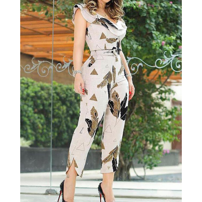 Sashes Ruffles Shoulder Jumpsuits For Women 2019 Leaf Print Layered Ruffle Split Leg Jumpsuit With Belt Summer Sexy Rompers