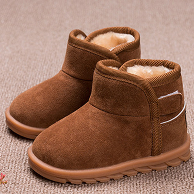2016 Winter Baby Boys Snow Boots Kids Boy Plush Warm Boots Slip on Infant Boys Boots Fur Lining Thermal Shoes Enfant Botas
