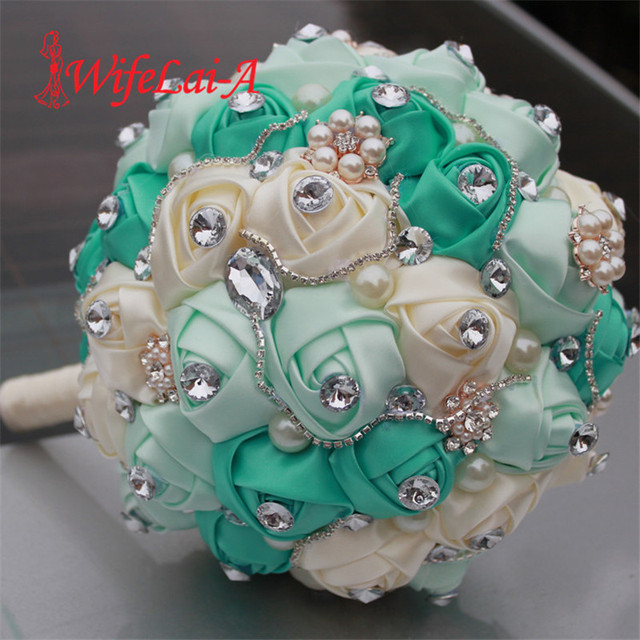 Diamond Silk Pearls Rhinestone Rose Flowers foam Ball Bridal Wedding Bouquet DIY Bride Bridesmaid Wedding Flowers Bouquet Q340